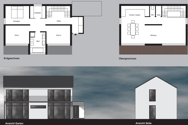 Erdgeschoss, Obergeschoss, Ansicht Garten, Ansicht Seite